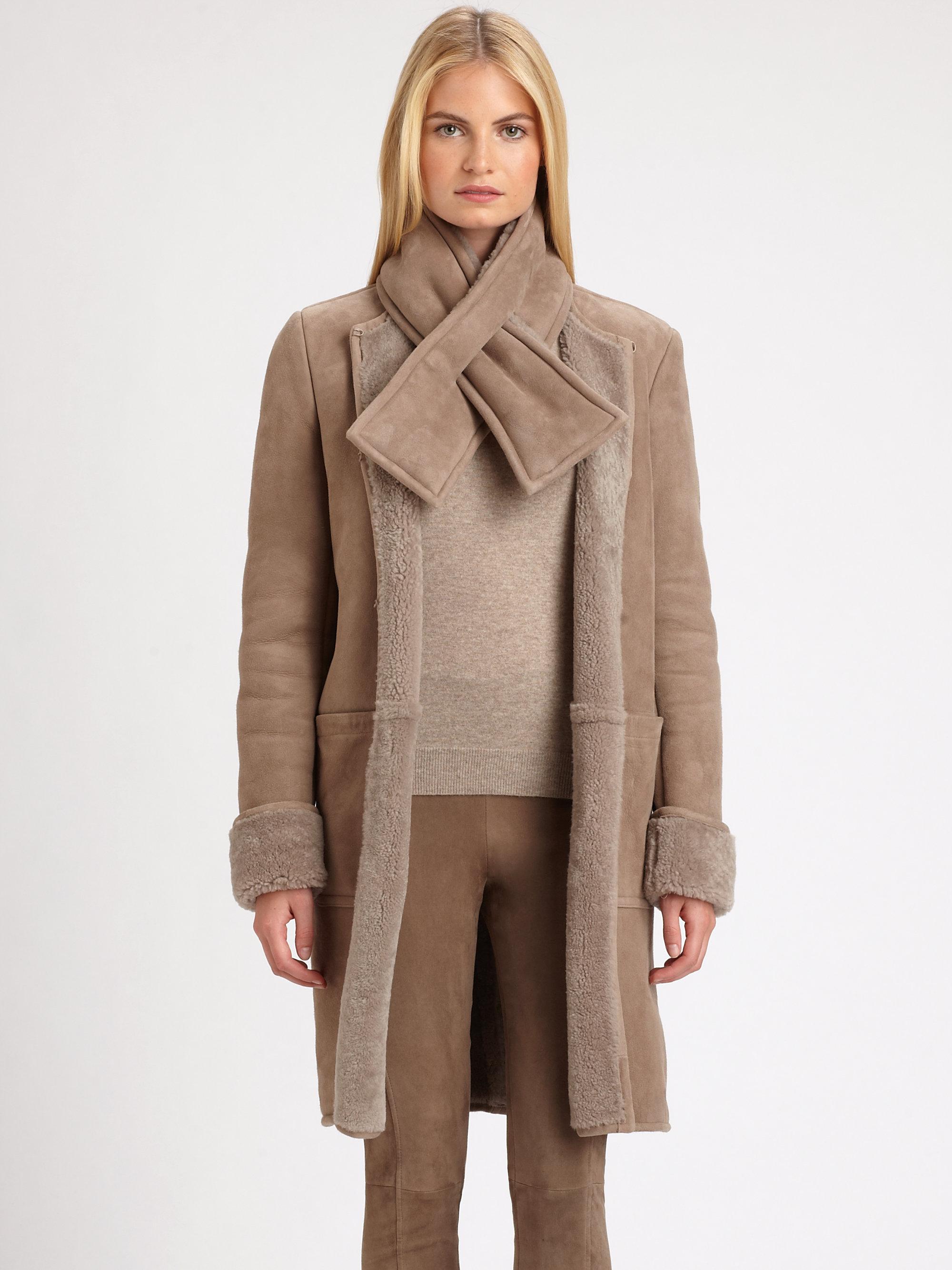Ralph lauren black label Shearling Garner Coat in Natural | Lyst