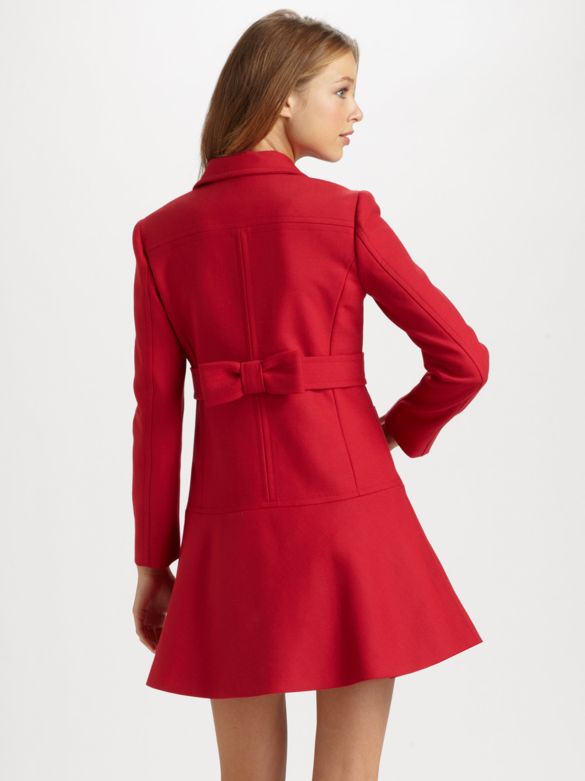 Red Valentino Spring 2016: Red Valentino Cottonwool Bow Coat In Red