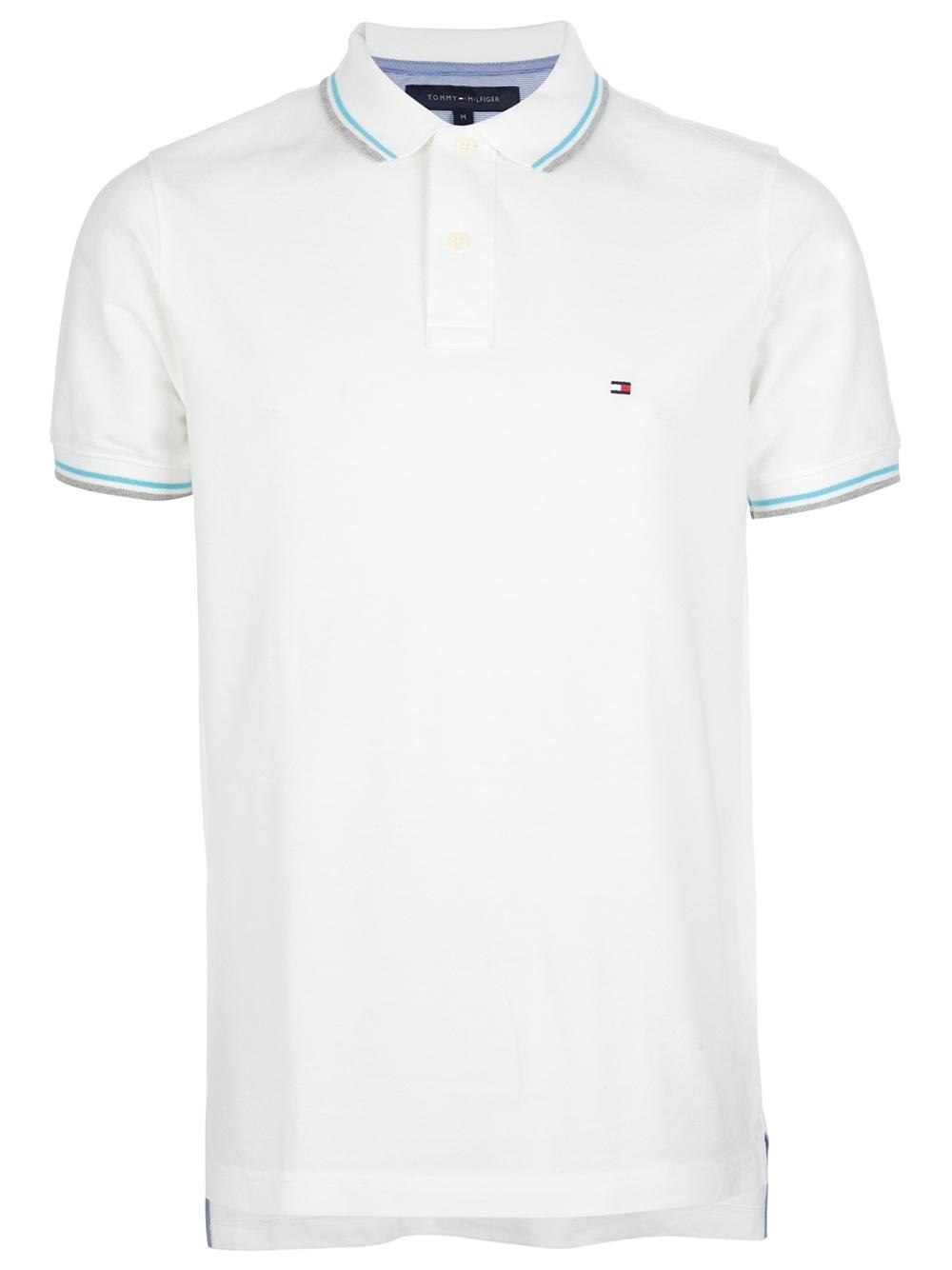 tommy hilfiger contrast trim polo shirt in white for men. Black Bedroom Furniture Sets. Home Design Ideas
