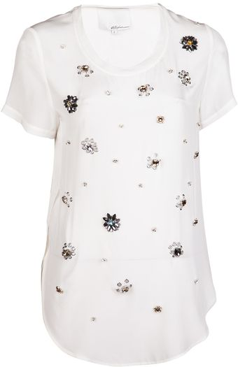 3.1 Phillip Lim Embellished Silk T-shirt - Lyst