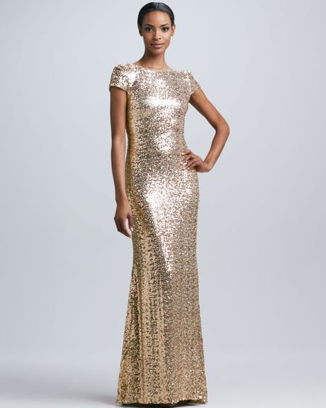 Badgley Mischka Sequined Cowlback Gown In Gold Lyst