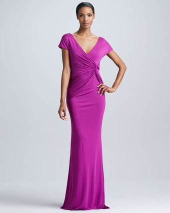 Badgley Mischka Knot Front Fitted Gown - Lyst
