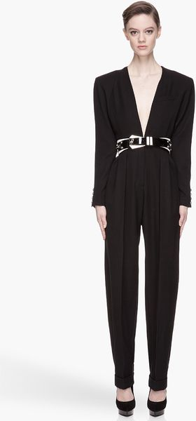 Balmain Black Structured Pleated Fullbody Jumpsuit - Lyst