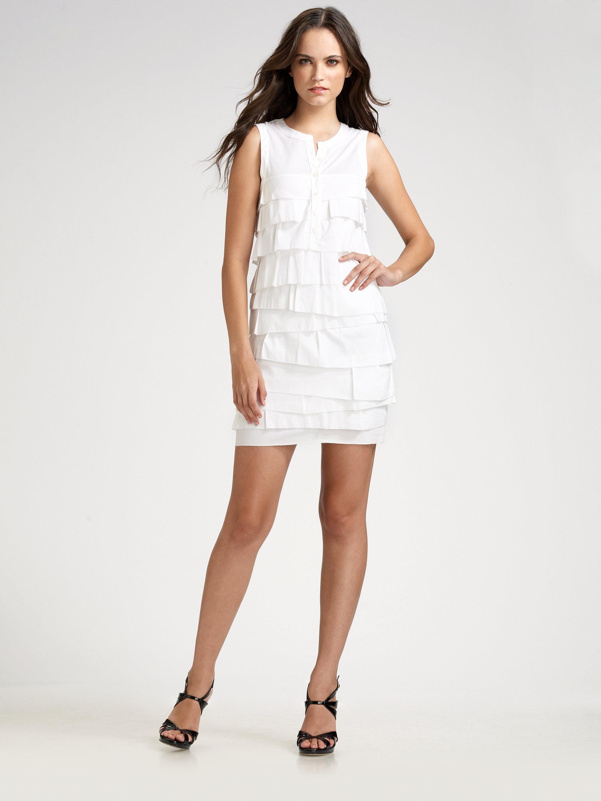 Bcbgmaxazria Tiered Dress in White - Lyst