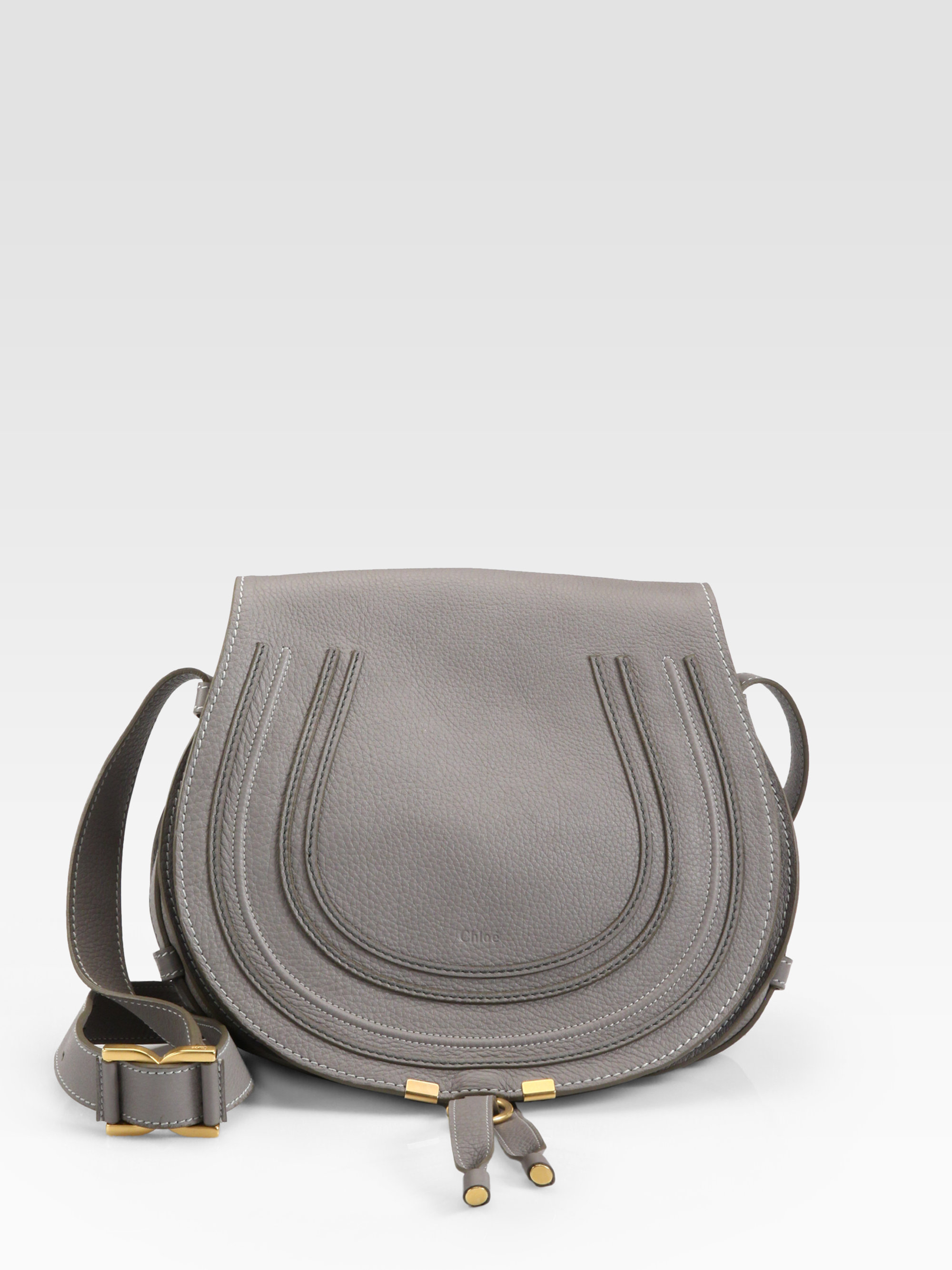 lyst chlo marcie medium round crossbody bag in gray. Black Bedroom Furniture Sets. Home Design Ideas