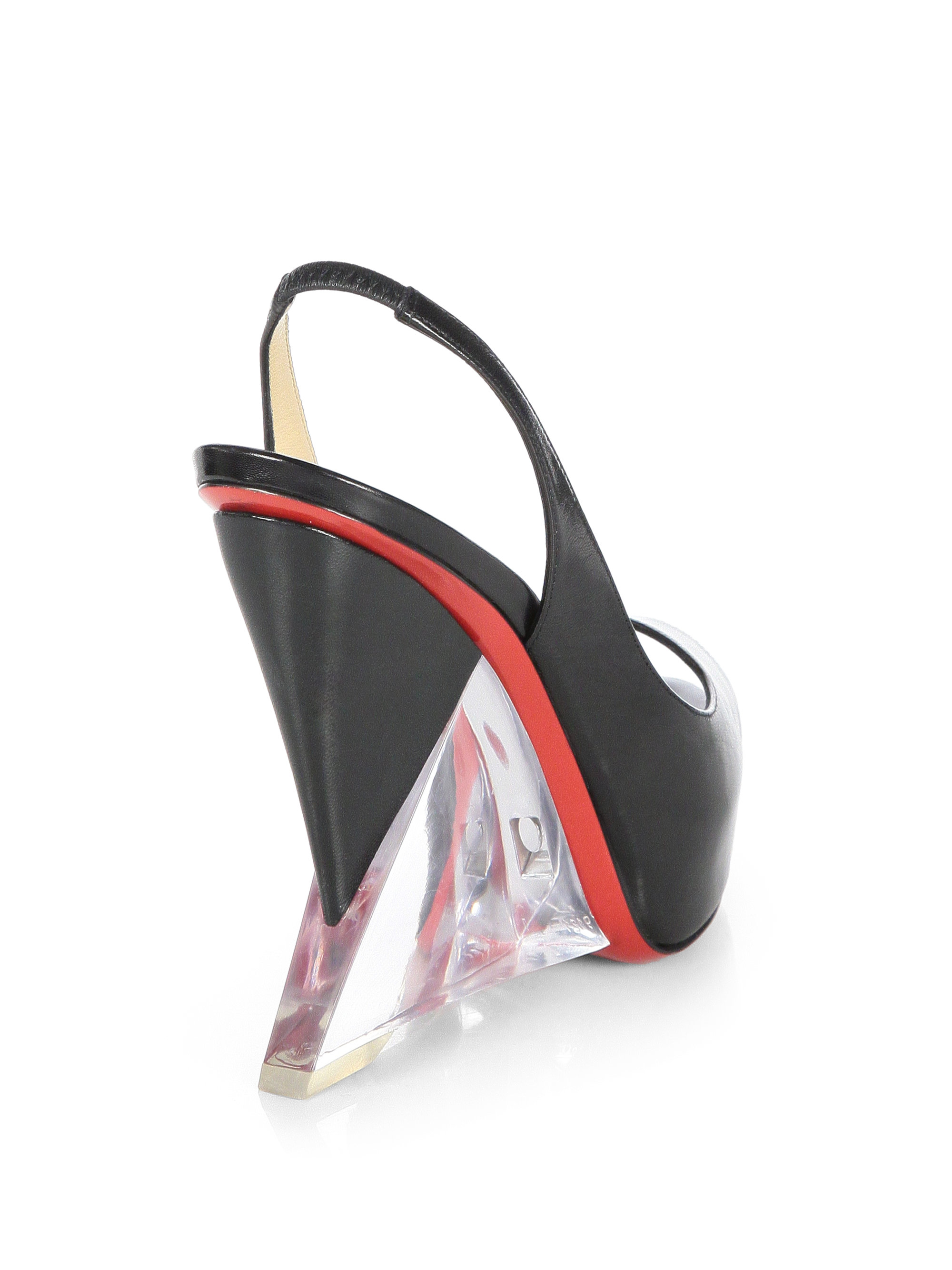 christian louboutin fake - Peony Design ? christian louboutin leather plexi wedge slingback pumps