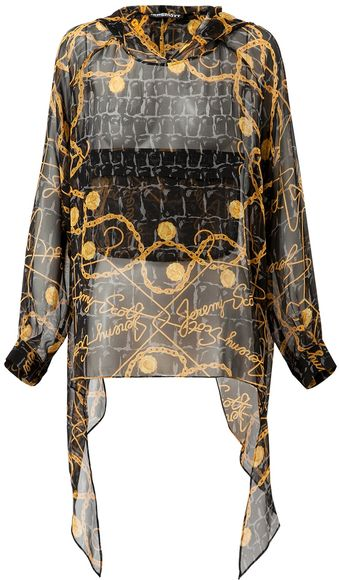 Jeremy Scott Printed Silk Chiffon Hooded Top - Lyst