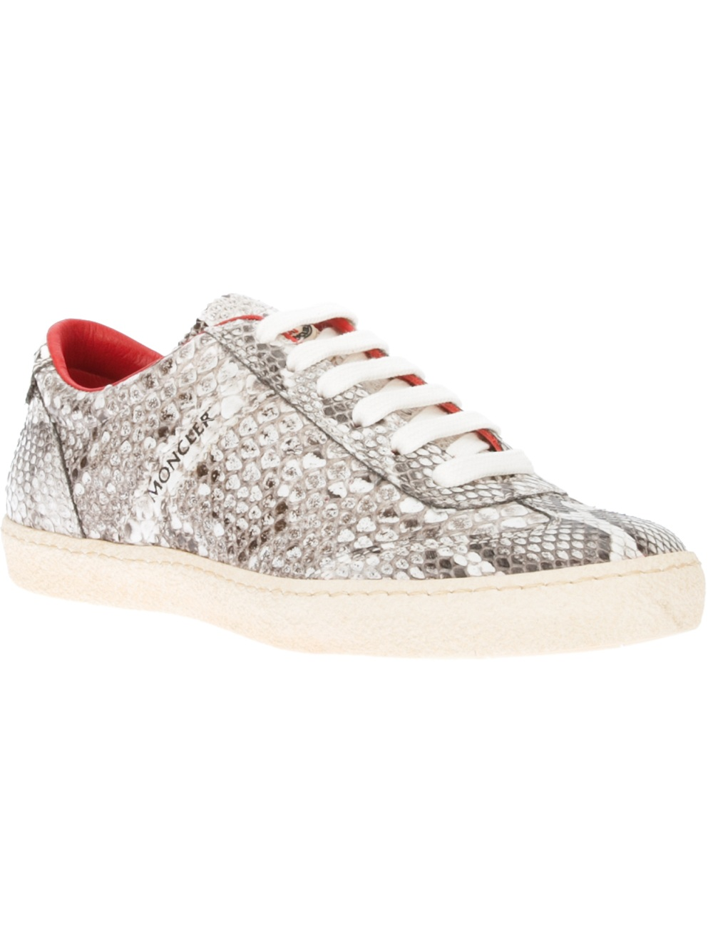 Moncler Snakeskin Trainer in Red - Lyst