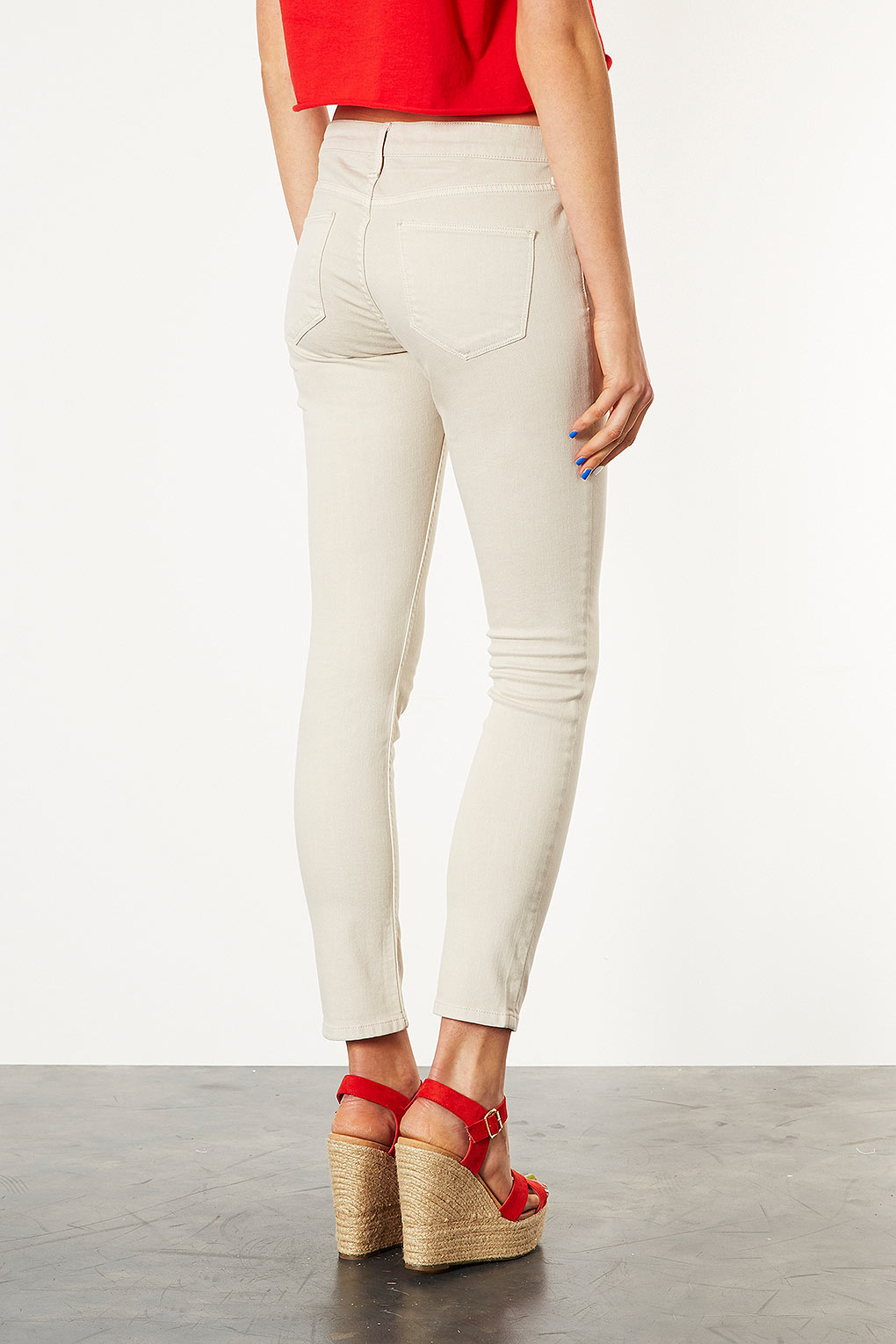 Topshop Cream Baxter Skinny Jeans In Natural Lyst