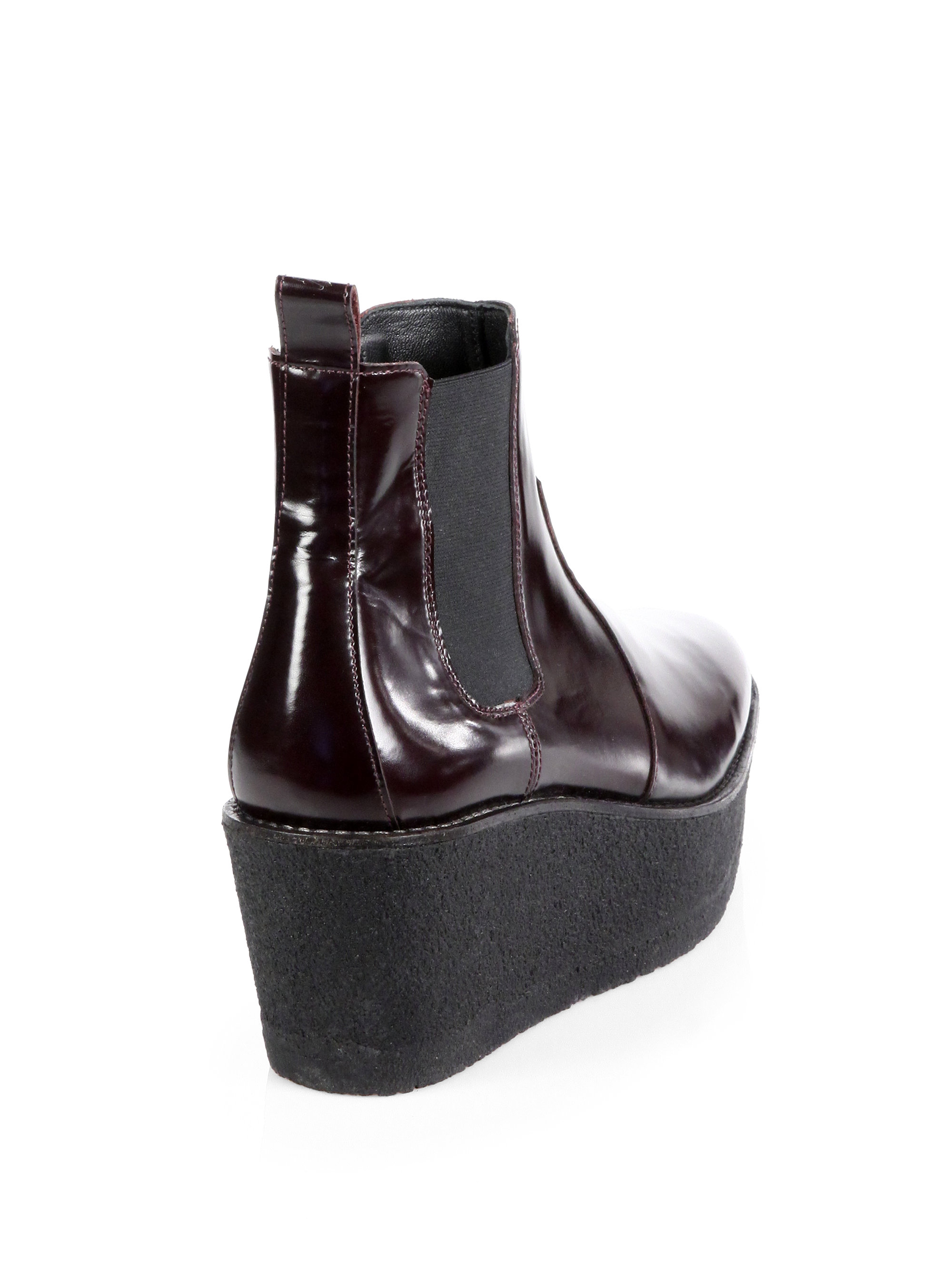Pierre hardy Leather Platform Wedge Ankle Boots in Red | Lyst