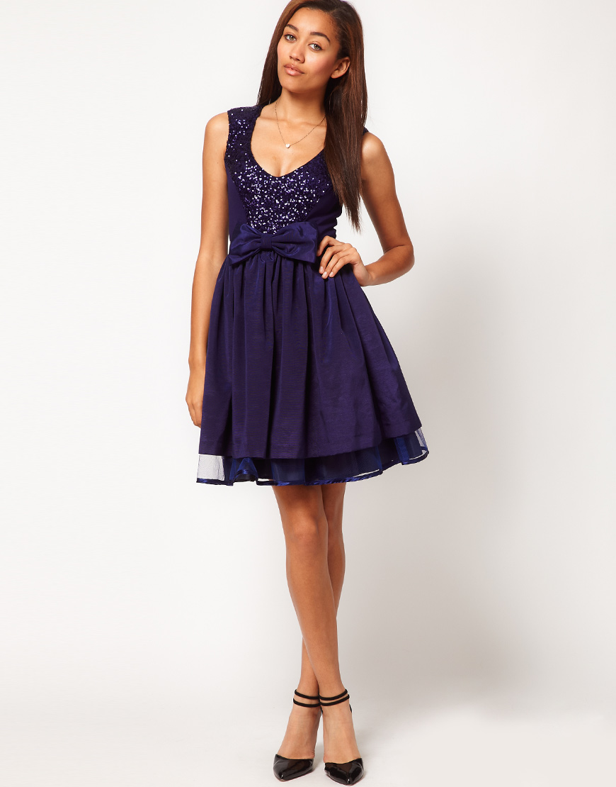 River Island Sequin Panel Skater Dress In Purple Lyst