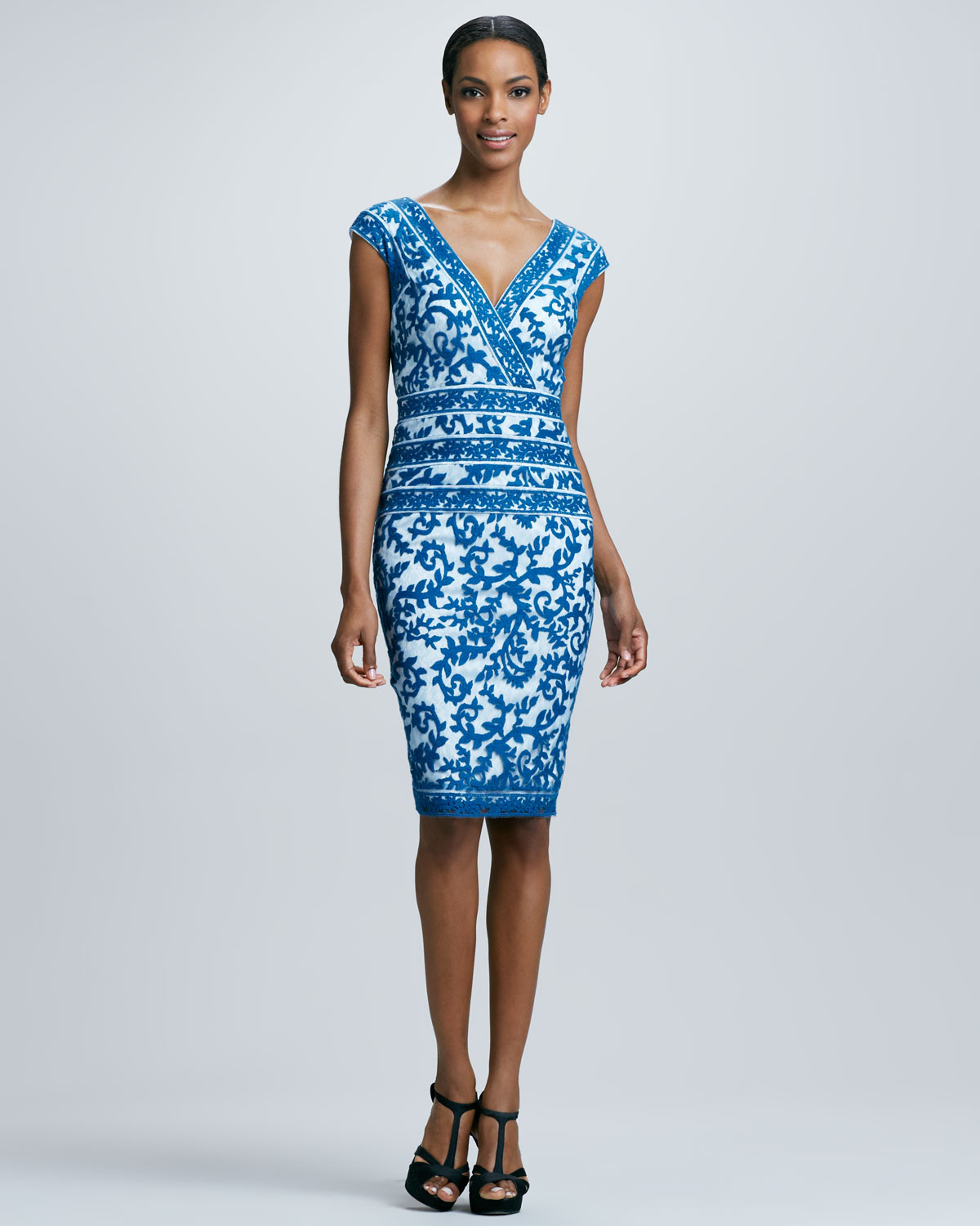Lyst tadashi shoji v neck lace cocktail dress in blue gallery ombrellifo Image collections
