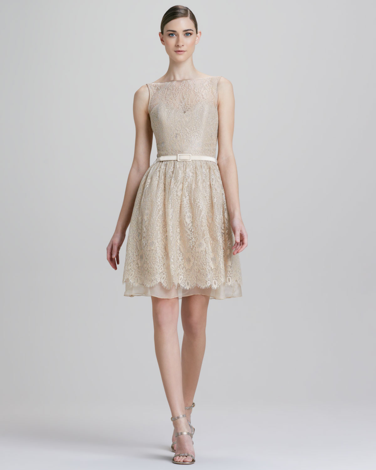 Theia Beaded Belted Lace Cocktail Dress