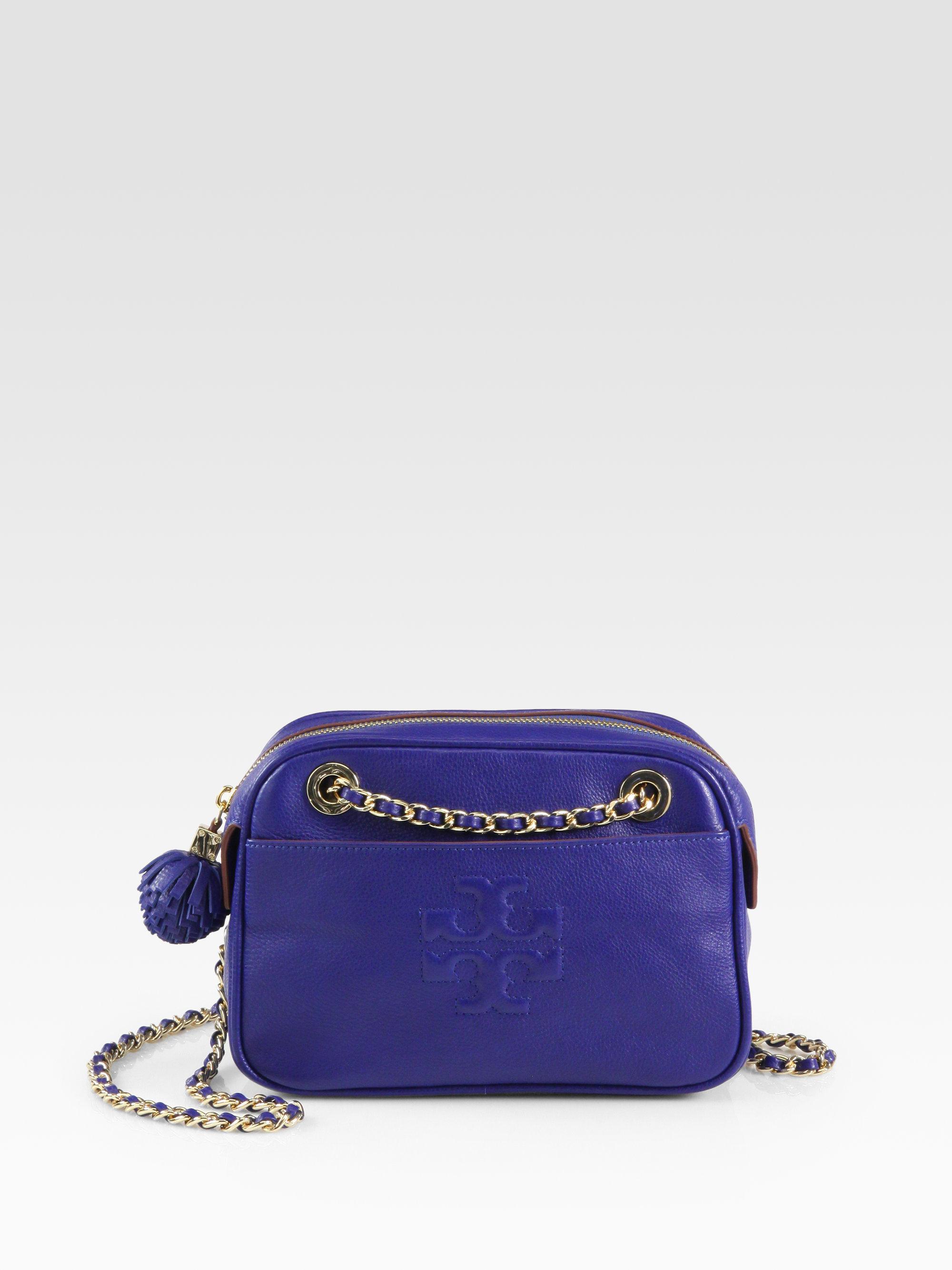 8f18aa7c9f Tory Burch Thea Crossbody Chain Bag in Blue - Lyst