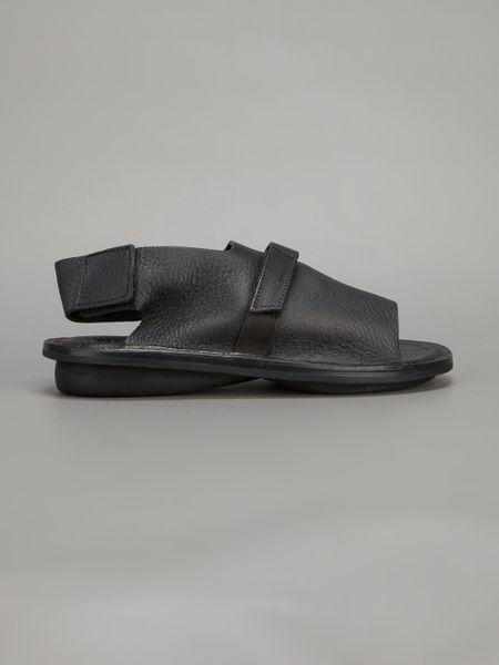 Trippen Distressed Peep Toe Sandal In Black Lyst