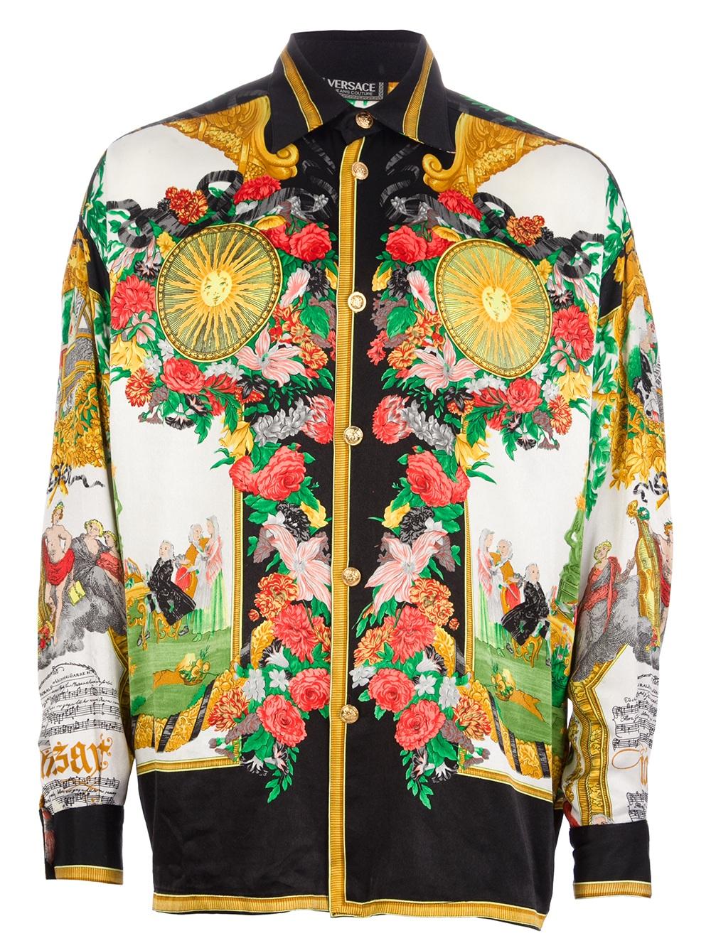 versace sana in corpore sano shirt in multicolor for men multicolour lyst. Black Bedroom Furniture Sets. Home Design Ideas