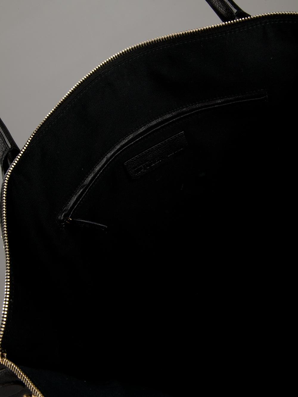 Alexander McQueen Large Contrast Stud Tote in Black
