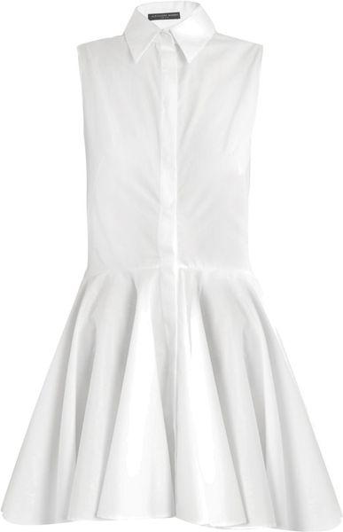 Alexander mcqueen button down shirt dress in white lyst for White button down dress shirt