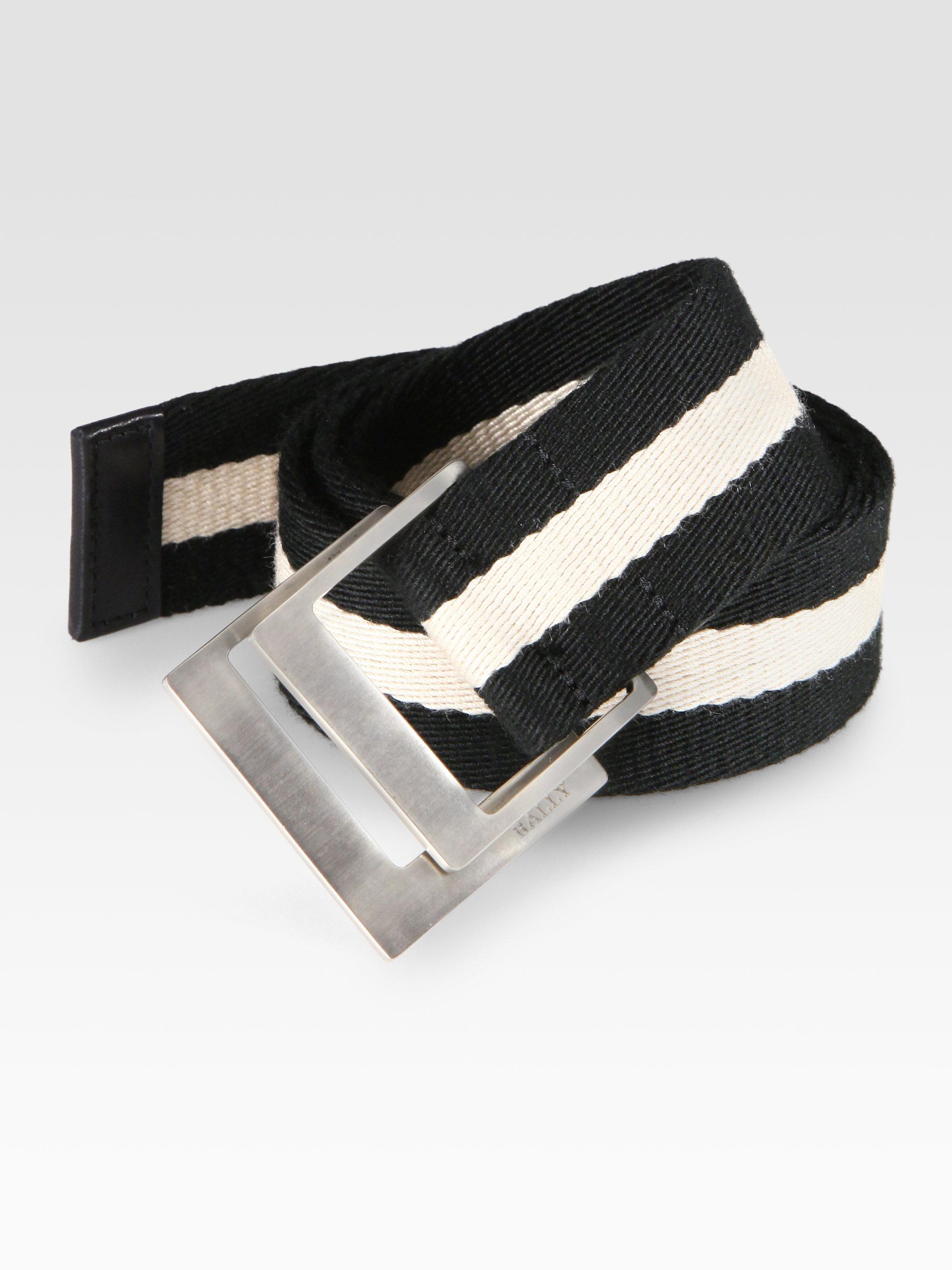 Bally Striped Belt In Black For Men Lyst