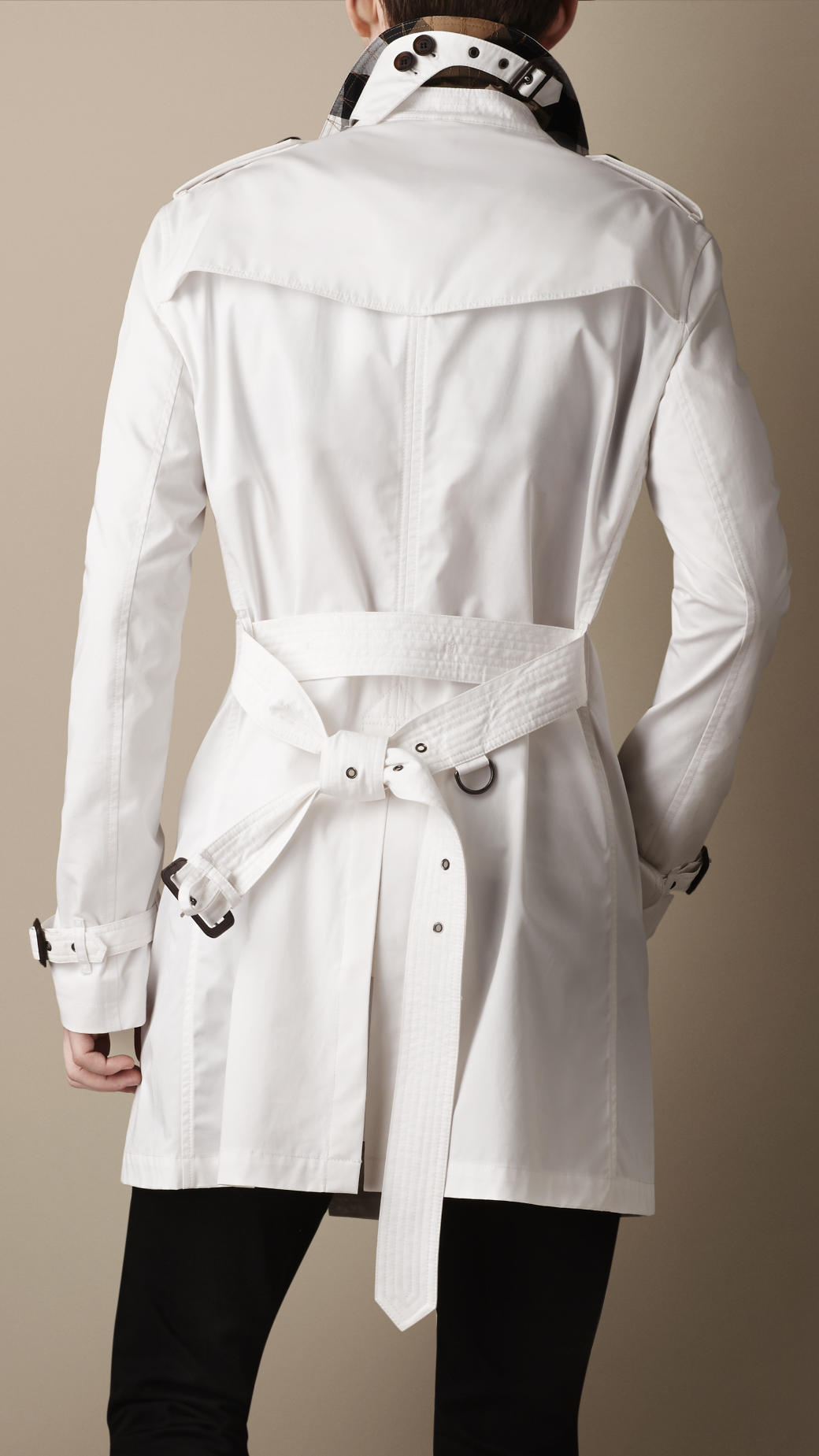 Burberry Midlength Cotton Twill Trench Coat in White for Men | Lyst