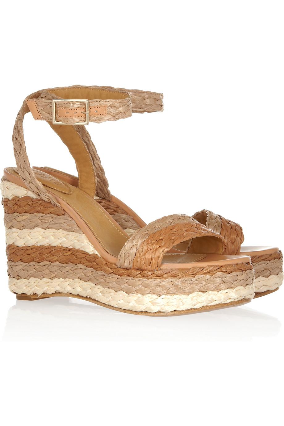 ad33b07cc6b1 Lyst - Chloé Halter Ankle Raffia Wedge Sandal in Brown