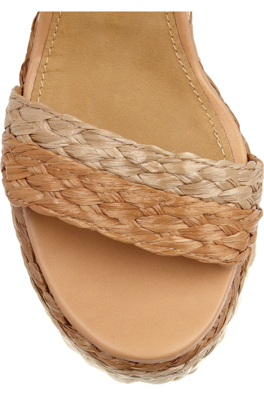 Chlo 233 Halter Ankle Raffia Wedge Sandal In Light Brown