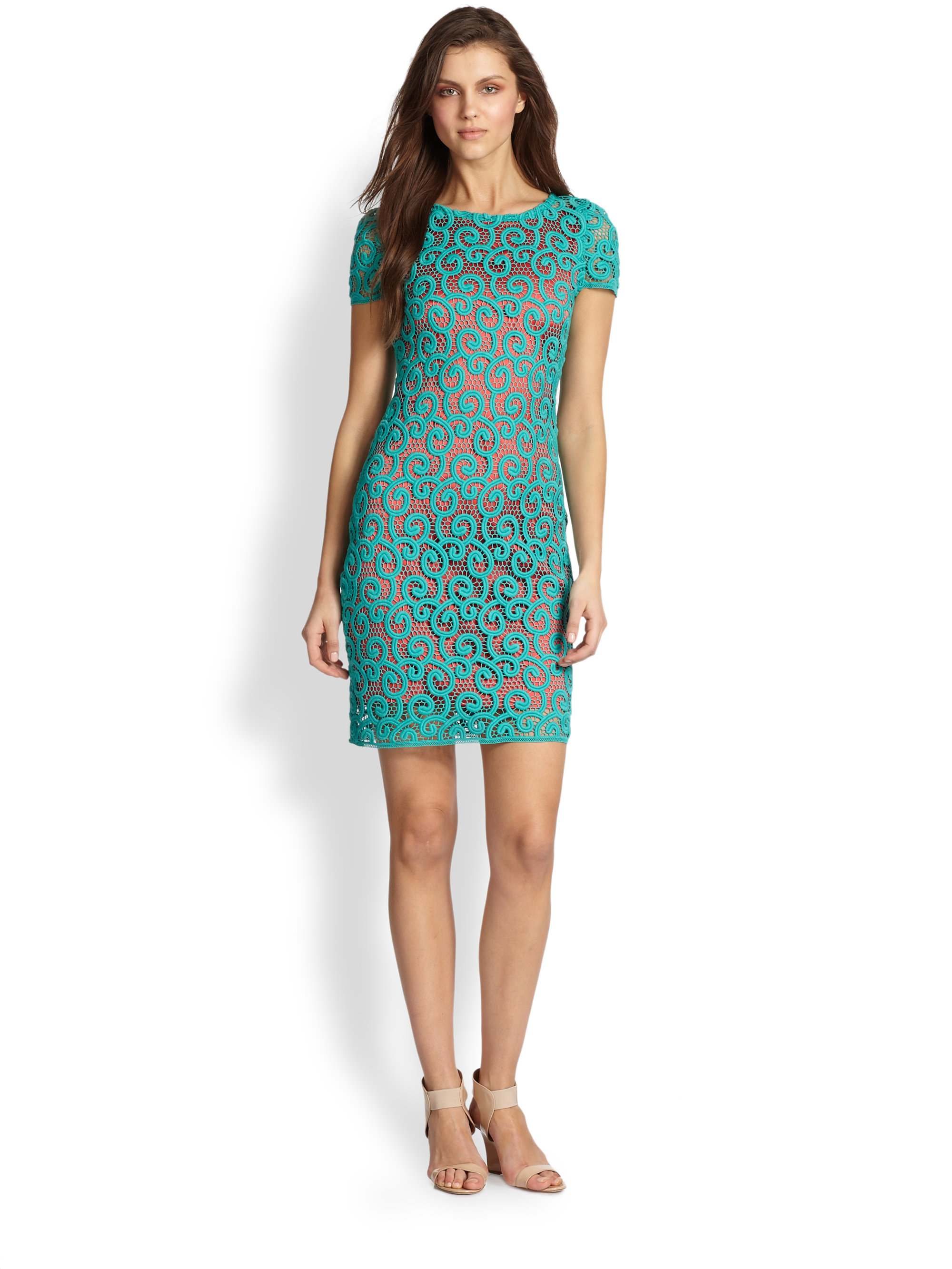 Elie Tahari Lolly Dress In Teal Coral Green Lyst