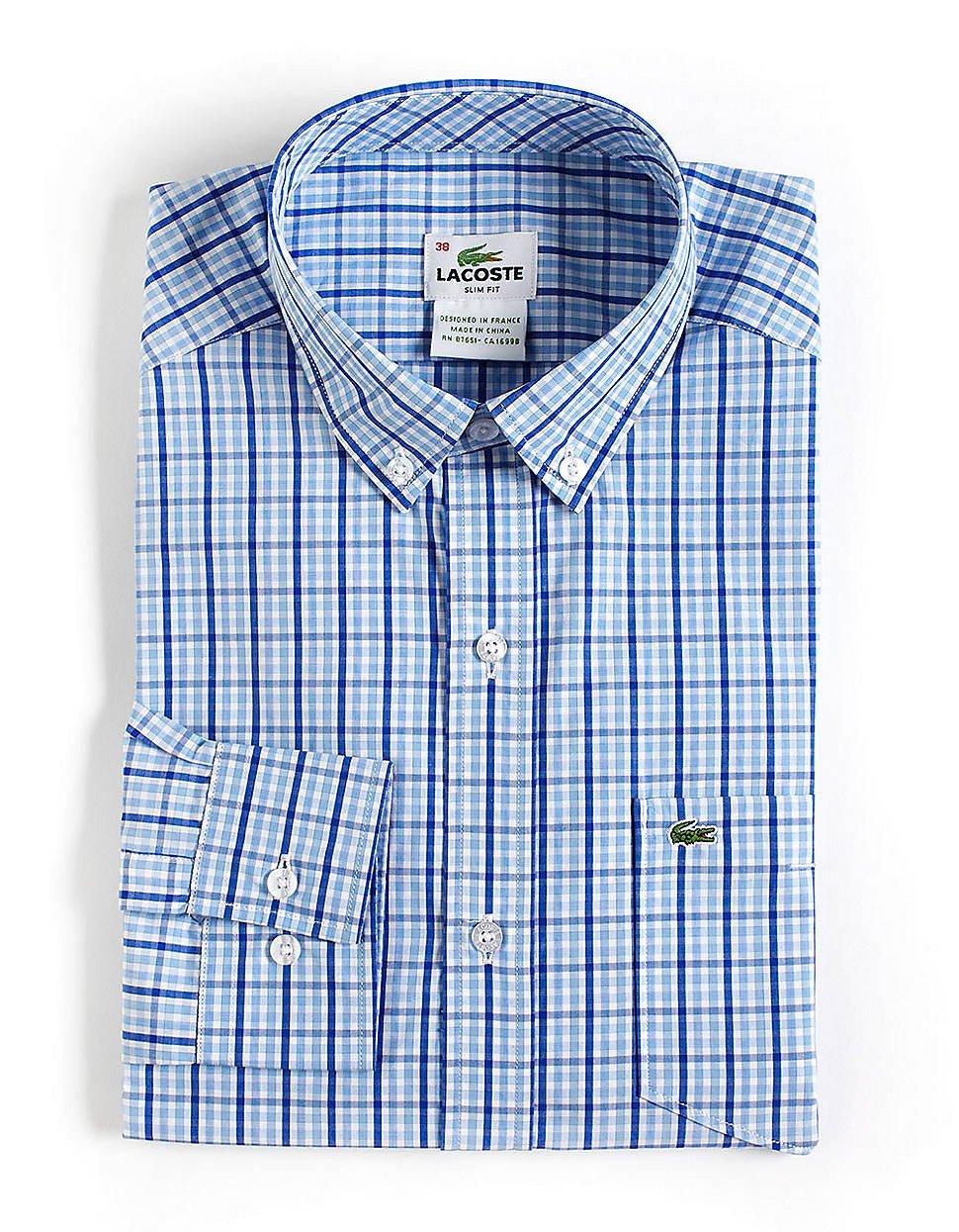 Mens Blue Plaid Dress Shirt
