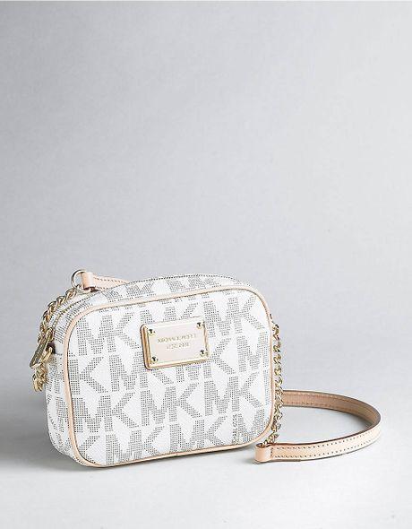 Michael Michael Kors Leather Logo Pattern Crossbody Bag in ...