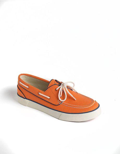 Polo Ralph Lauren Lander Canvas Boat Shoes in Orange for Men