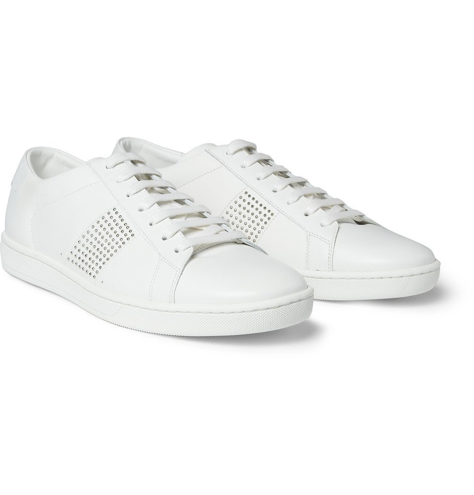 0abbfe9595a Saint Laurent Studded Leather Sneakers in White for Men - Lyst