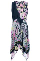 Amen Sleeveless Mixed Print Dress