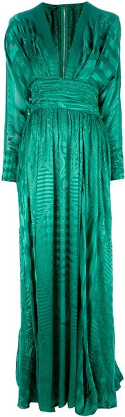 Balmain Plunge Neck Evening Gown - Lyst