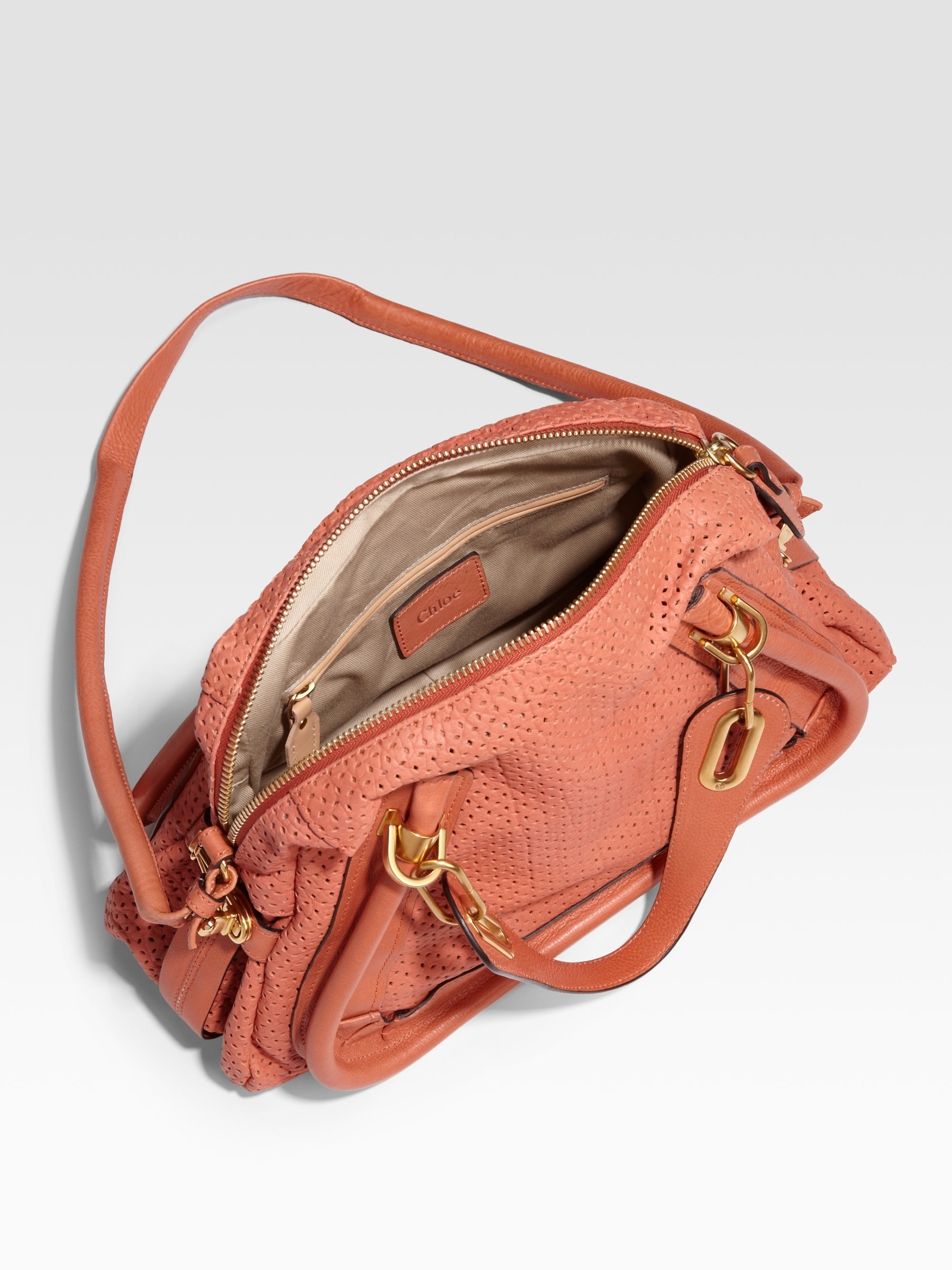 Chlo¨¦ Paraty Medium Perforated Leather Tote in Pink (coral) | Lyst