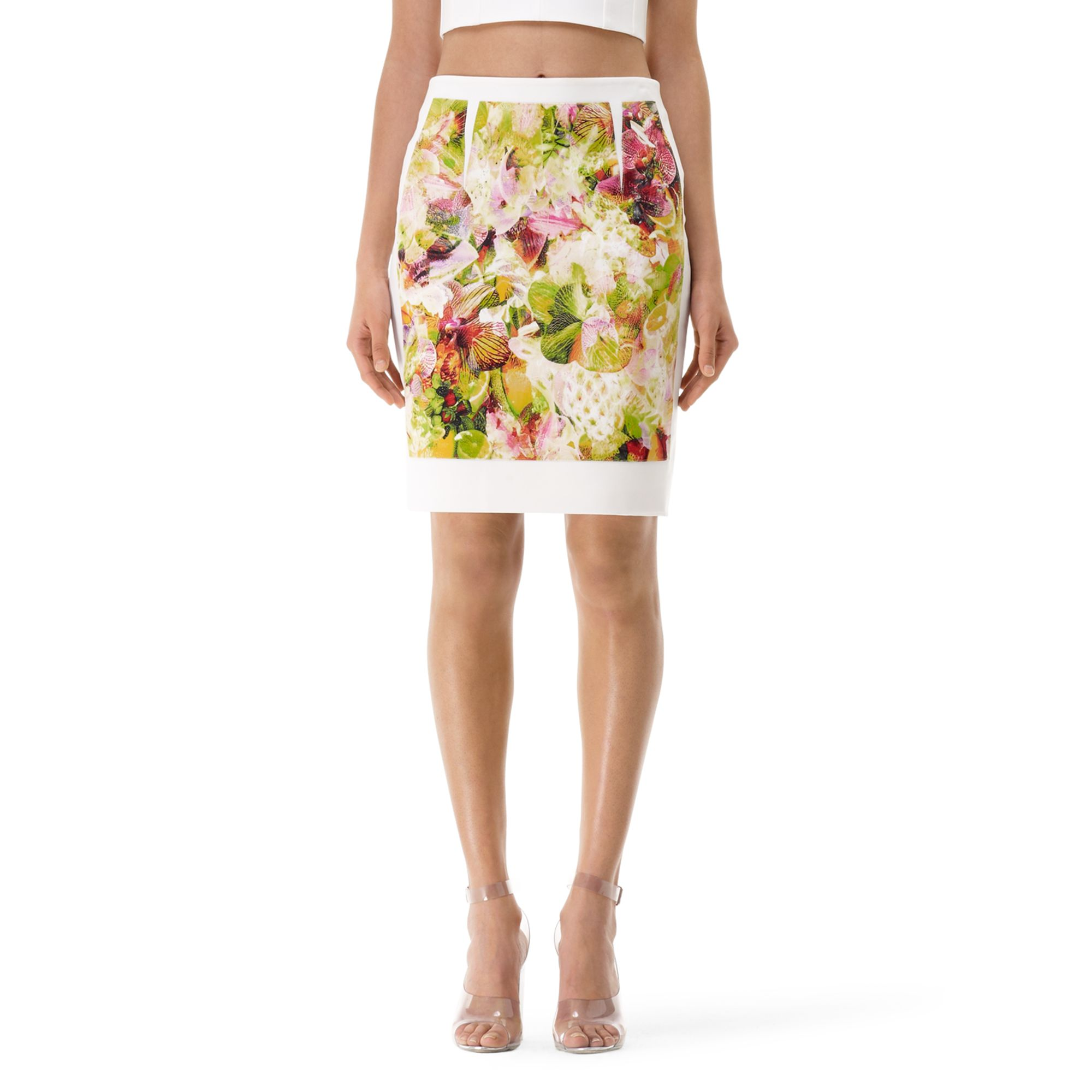 club monaco kenson printed pencil skirt in multicolor technicolor orchids lyst