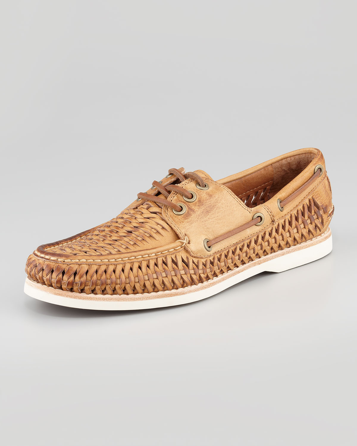 Frye Sully Woven Boat Shoe Tan in Brown for Men | Lyst