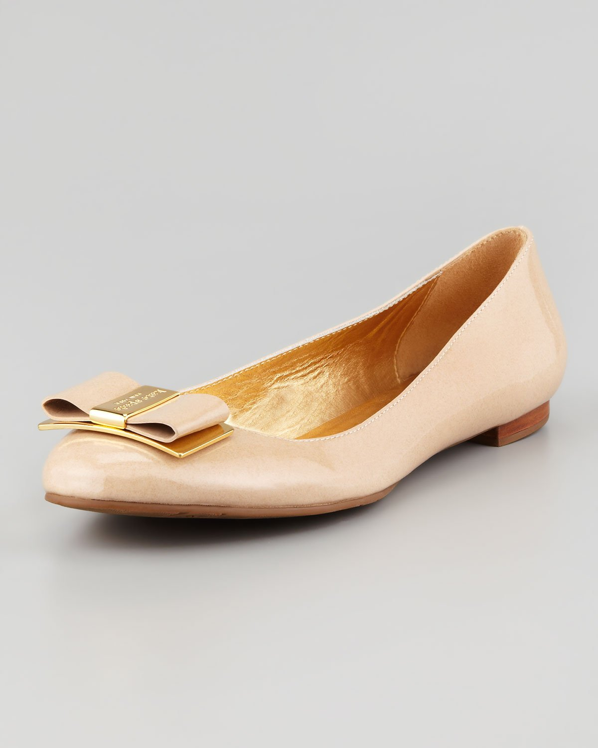 c29866478b Kate Spade Trophy Bow Patent Leather Flat in Natural - Lyst