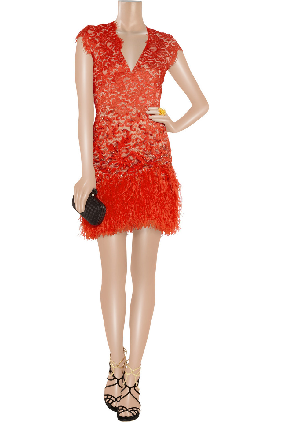 Matthew Williamson Feathertrimmed Embellished Lace Dress