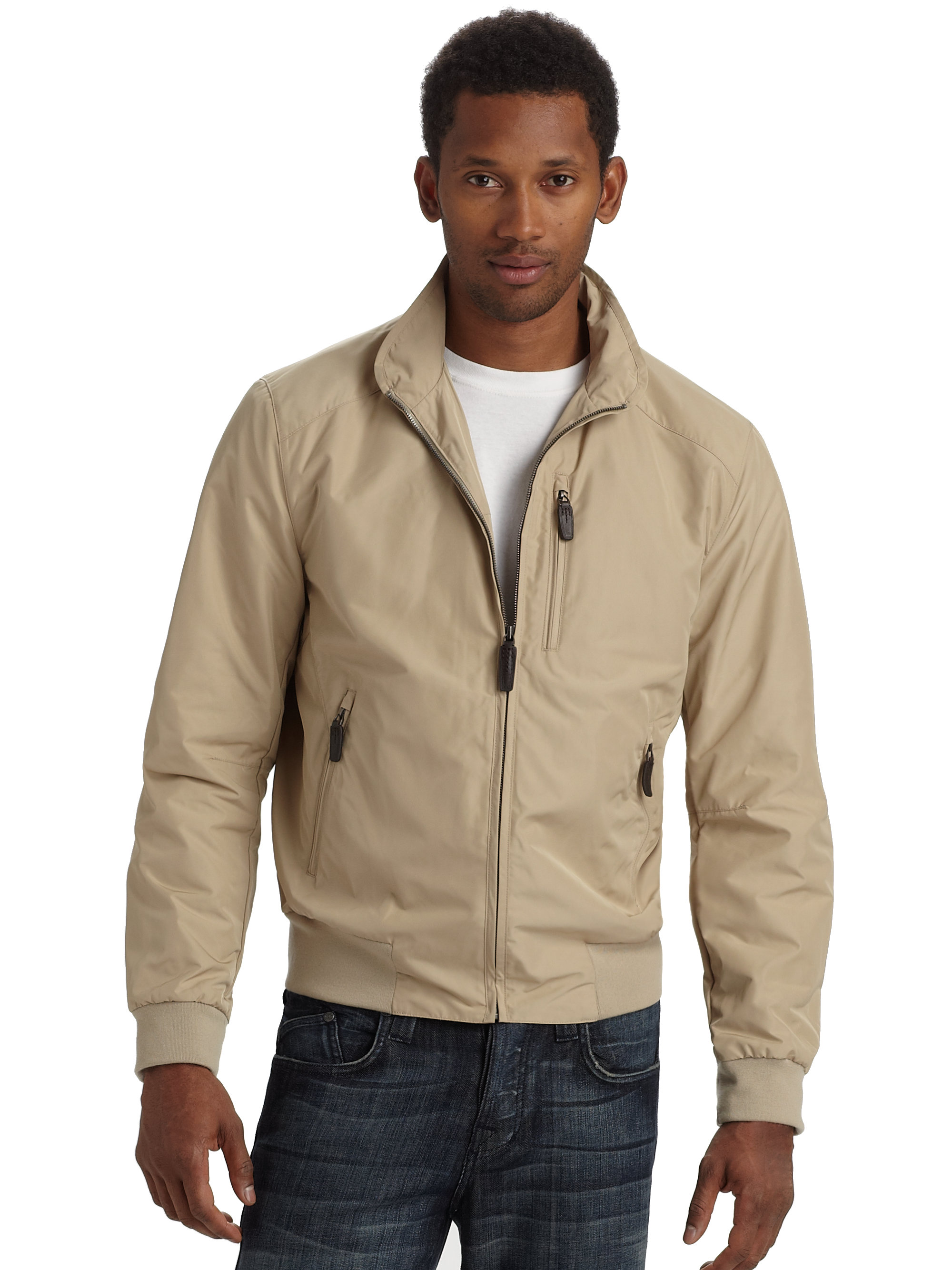 Tumi The New Lisbon Bomber Jacket Beige in Natural for Men | Lyst