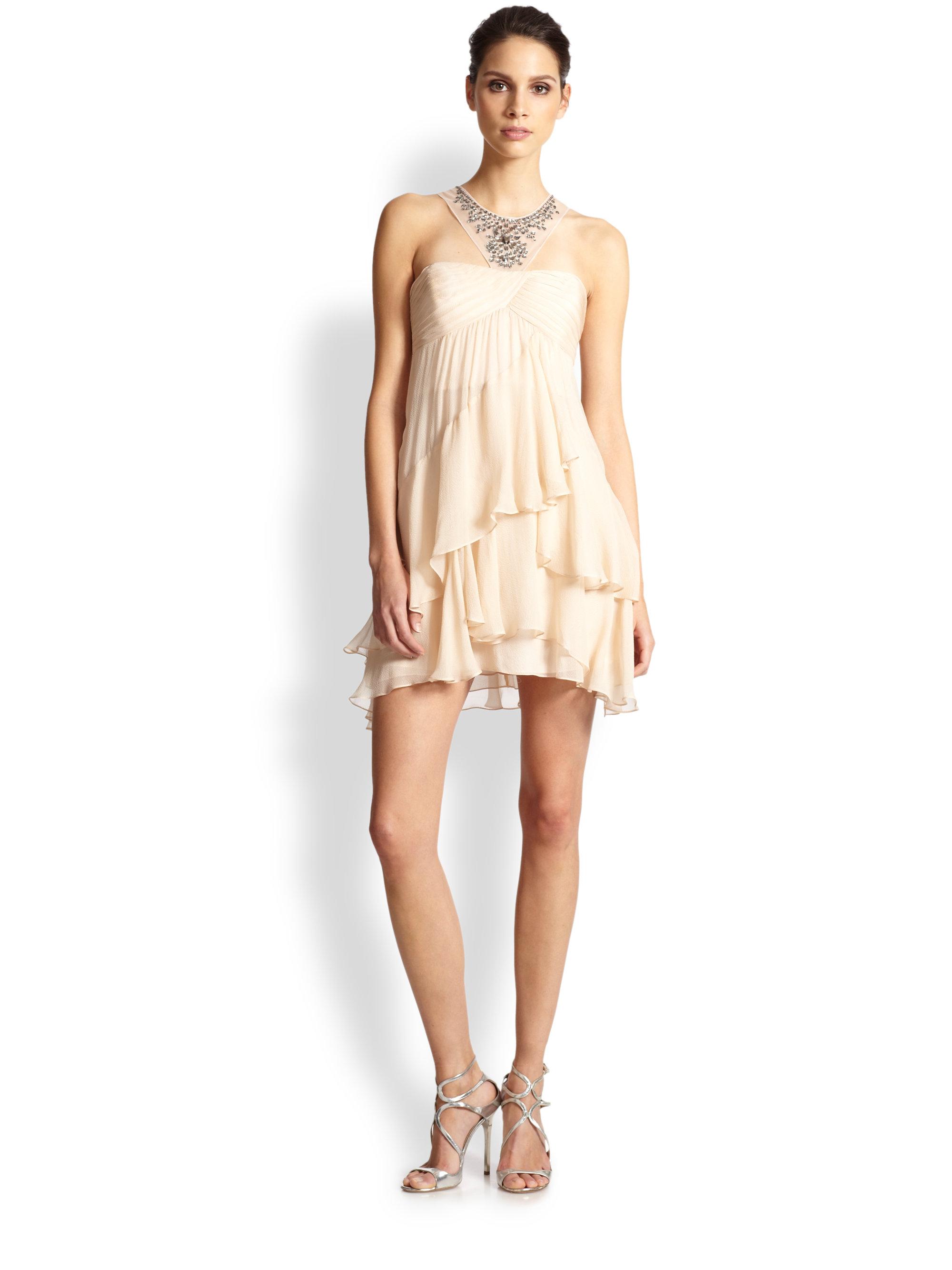 Bcbgmaxazria Joyce Asymmetrical Tiered Silk Chiffon Dress