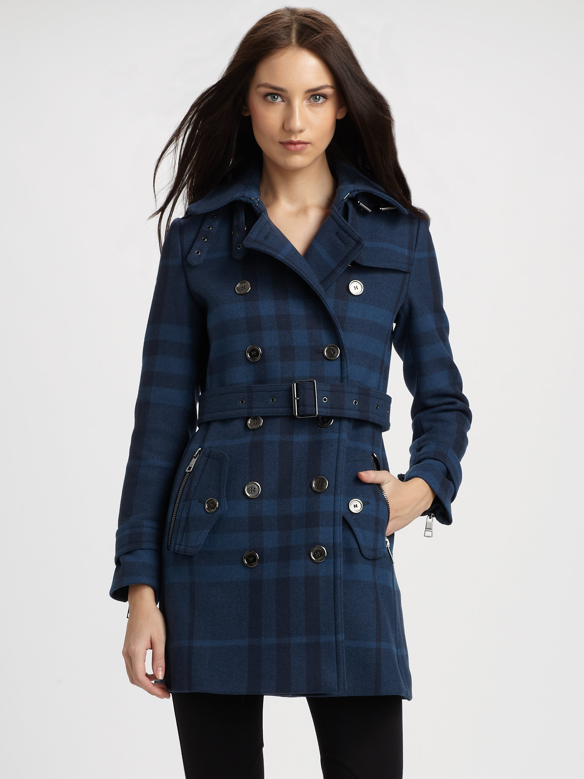 Burberry Brit Plaid Wool Blend Coat In Blue Lyst
