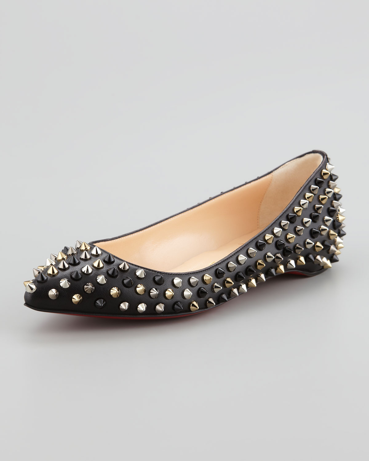 Artesur ? christian louboutin pointed-toe Pigalle Spike flats Grey ...