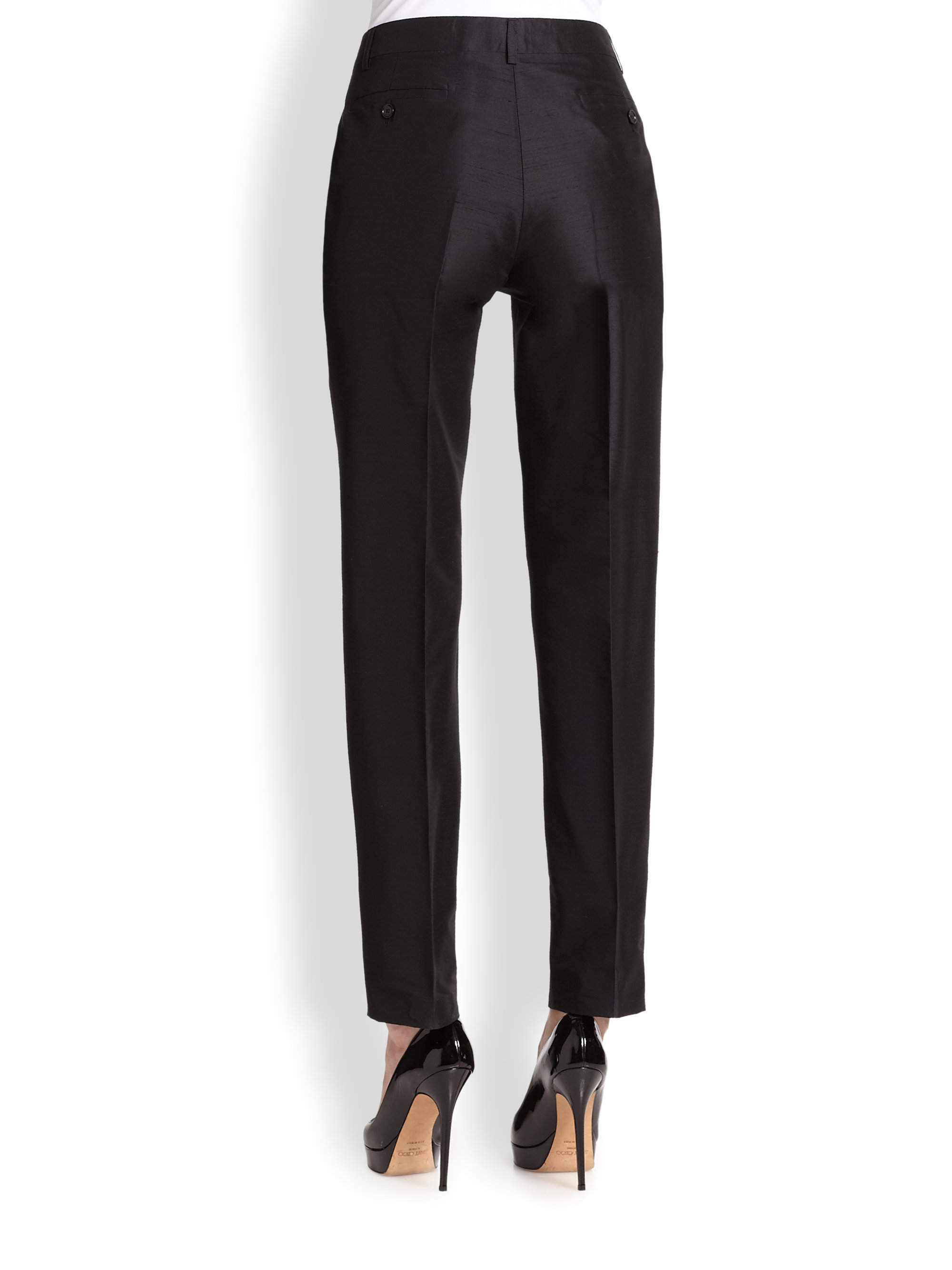 Etro Silk Shantung Pants in Black | Lyst
