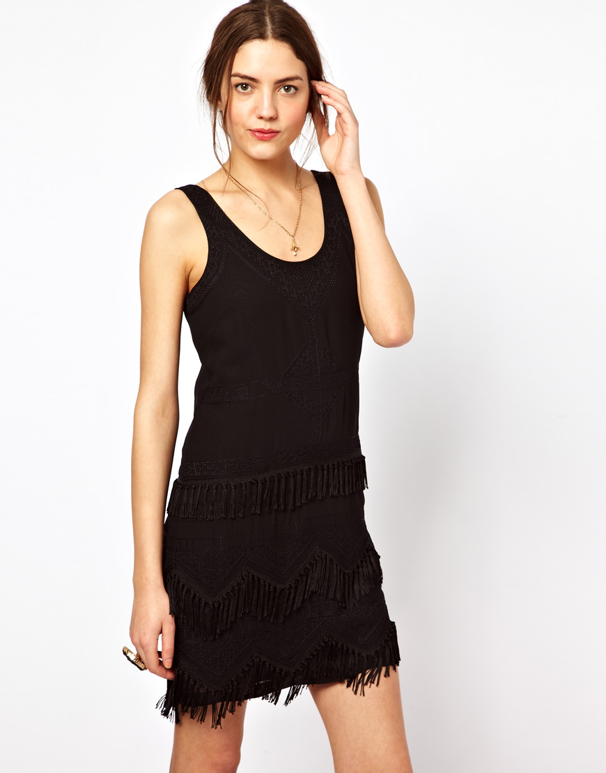 French connection texas tassel dress black