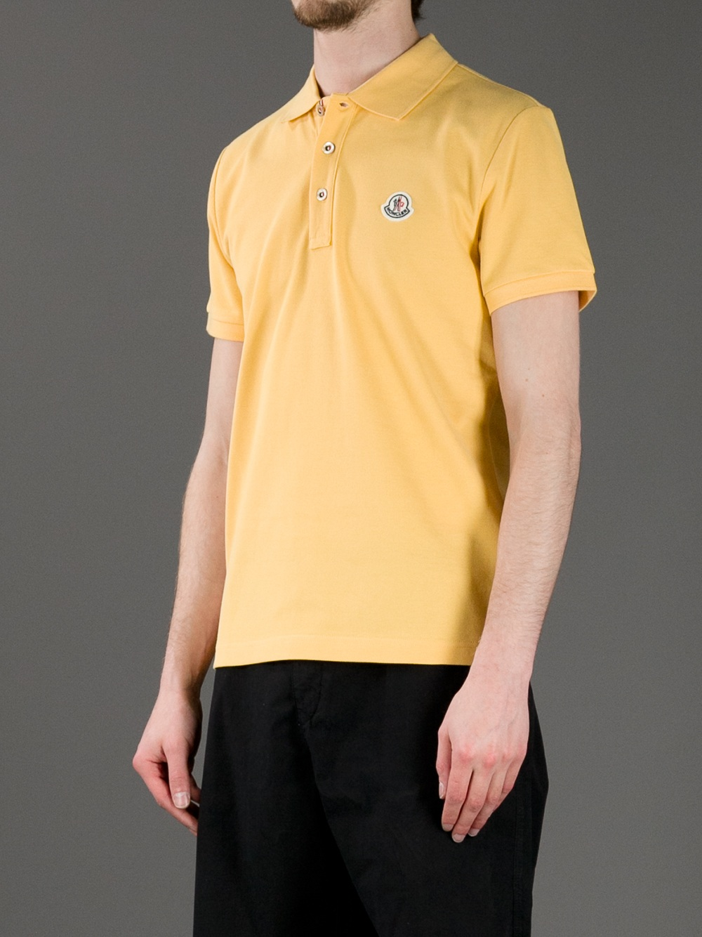 4b286be2d Moncler Logo Polo Shirt in Yellow for Men - Lyst