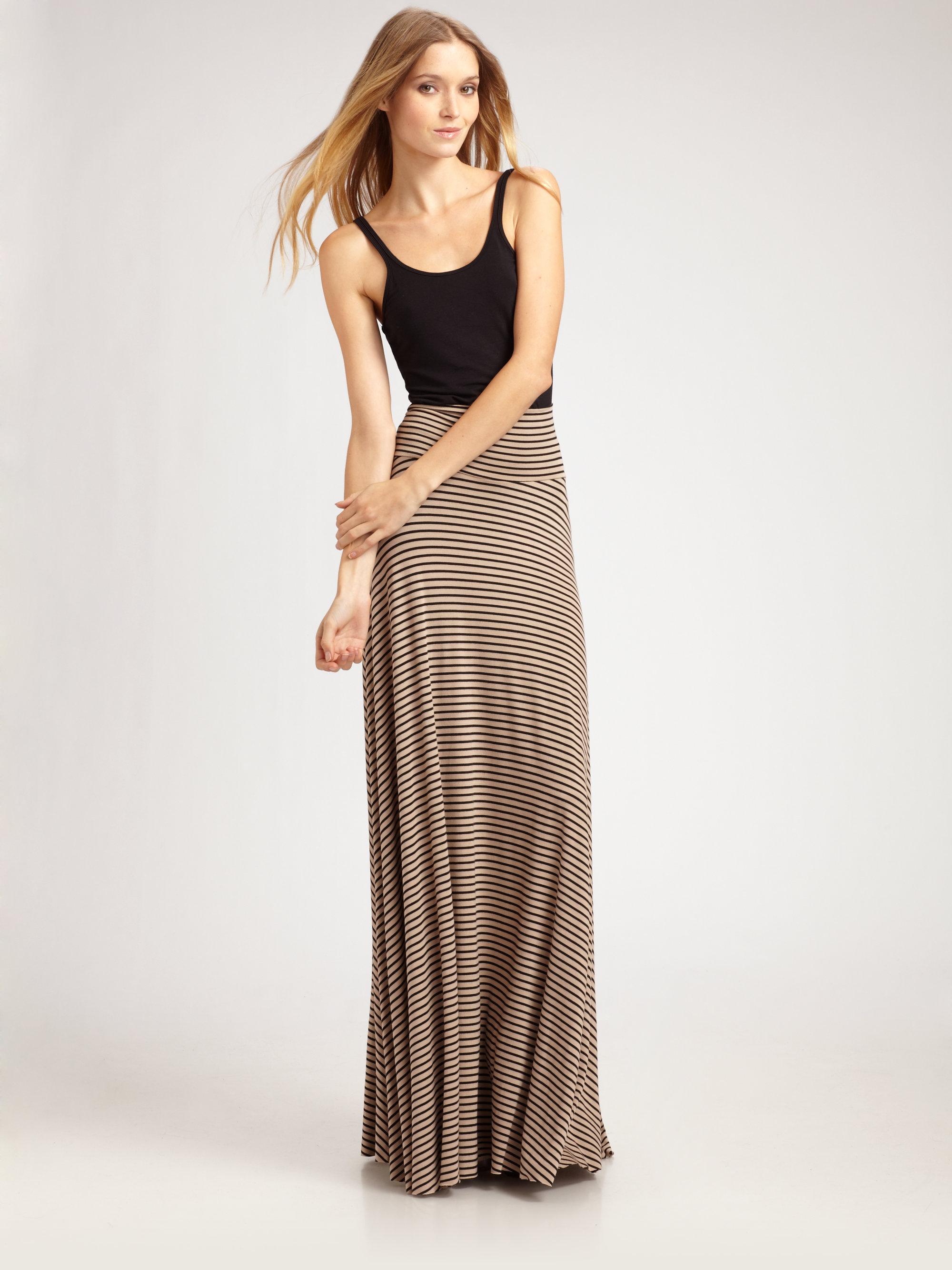 Rachel pally Striped Maxi Skirt in Brown | Lyst