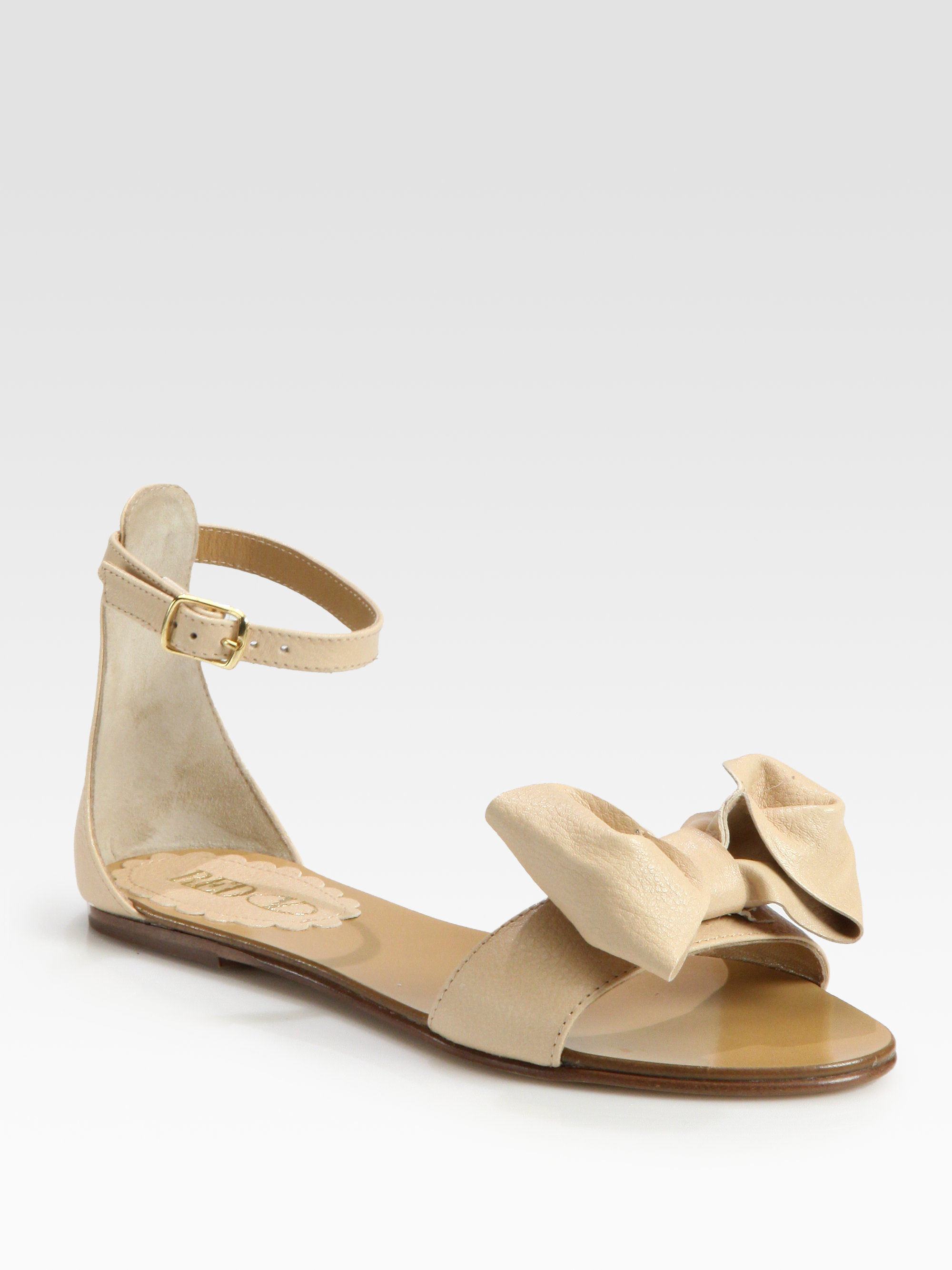 Red Valentino Leather Bow Flat Sandals In Beige Natural