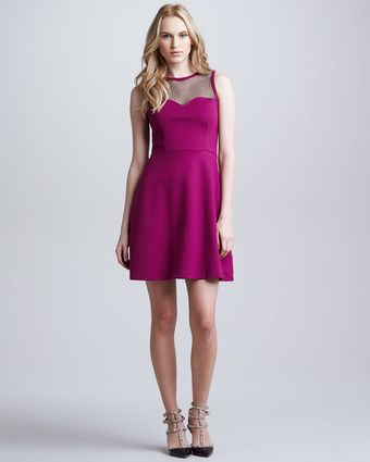 RED Valentino Embellished Sweetheart Neckline Raspberry Dress - Lyst