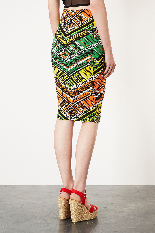 Topshop Aztec Print Tube Skirt In Yellow Lyst