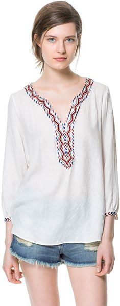 Zara blouse with embroidered details in white ecru lyst